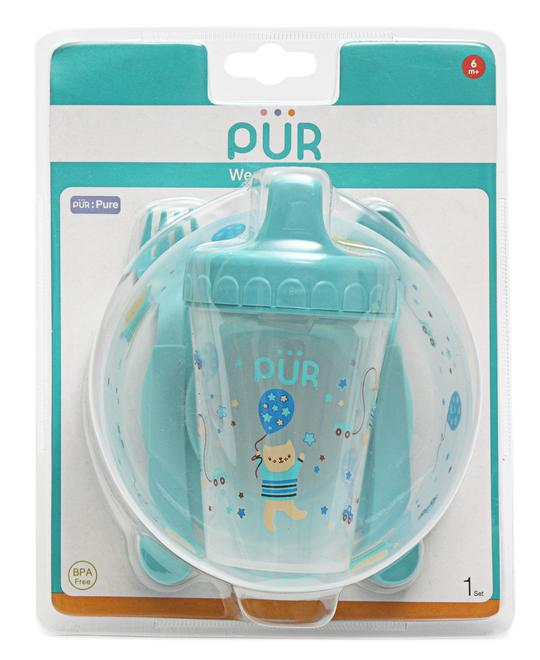 PUR Babies Cutlery & Cup Set Blue