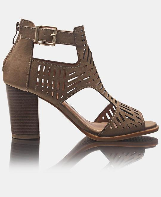 SEDUCTION Block Heels - Taupe