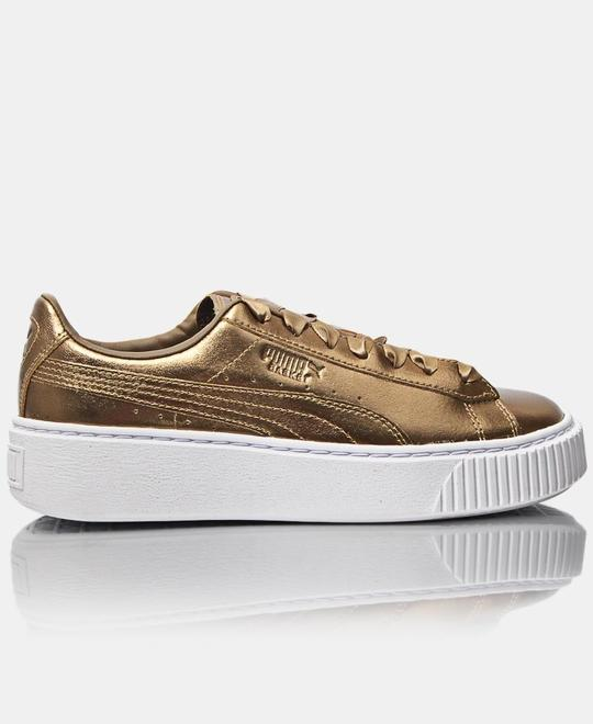 PUMA Ladies Platform Luxe Sneakers - Gold